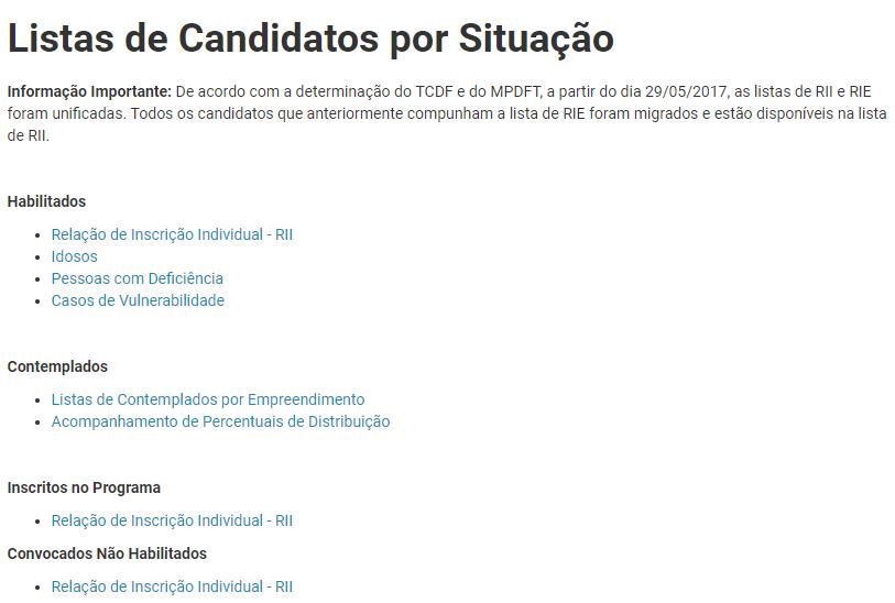 Lista de Candidatos Morar Bem DF 2021